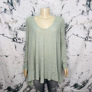 Free People We The Free Ribbed Long Sleeve Green